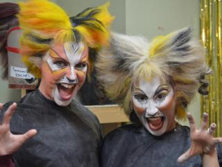 The finished look: actresses Kinsland Howell (left), who plays Demeter, and Katie Lynch, who plays Jellylorum in CATS.