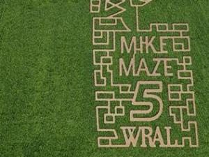 Ken's Korny Corn Maze in Garner mowed their 2013 maze in the likeness of WRAL-TV Meteorologist Mike Maze.