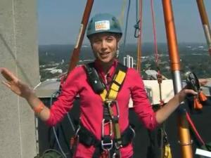 WRAL anchor Kelcey Carlson prepares to go 'Over the Edge' for Special Olympics on Oct. 4, 2013.