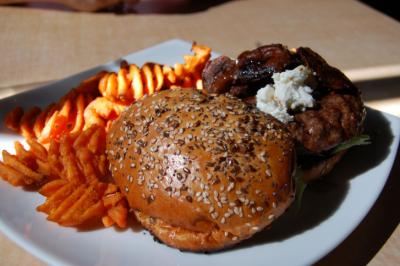 Twisted Fork's Mills Family Farm Dry Aged Beef Burger.