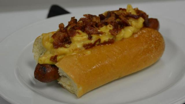 The mac and cheese, chili dog topped with bacon helped earn this team a third place finish at the Firewurst challenge at the NC Chef's Academy.