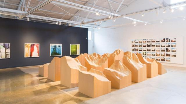 "Maya Lin's ""Blue Lake Pass"", a topographic map of the Colorado Rockies, is one of the first things you see during ""Surveying the Terrain"" at CAM Raleigh."