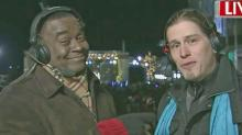 WRAL's Ken Smith interviews country star Jason Michael Carroll during First Night Raleigh.