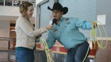 IMAGE: Learning the trick ropes with World's Toughest Cowboy announcer