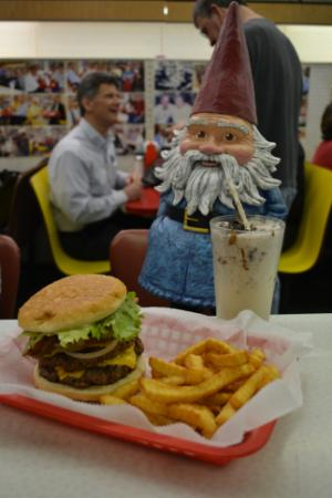 The Travelocity Roaming Gnome stopped by Sutton's drug store in Chapel Hill on March 5, 2014.