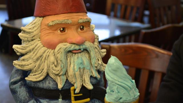 The Travelocity Roaming Gnome stopped by Sugarland in Chapel Hill for some gelato on March 5, 2014.