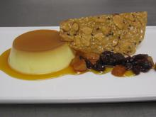 Lemon-Cardamom Flan with Poached Dried Fruits and Sesame-Almond Tuile at Elements. (Image from Elements)