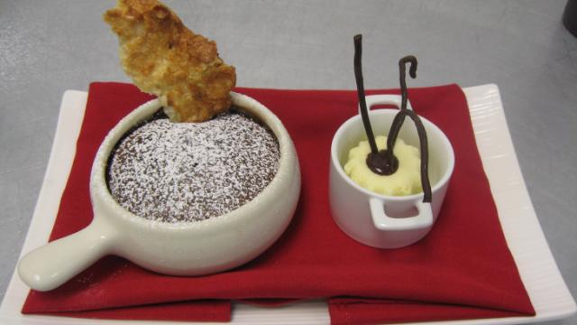 Molten Chocolate Cake with Macaroon Tuile and Toasted Coconut Ice Cream at Elements. (Image from Elements)
