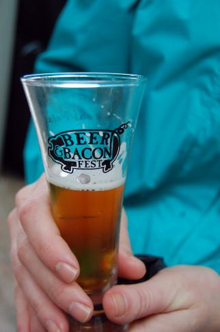 Thousands braved the rainy weather to enjoy Beer and Bacon at Koka Booth Amphitheatre in Cary on March 29, 2014.