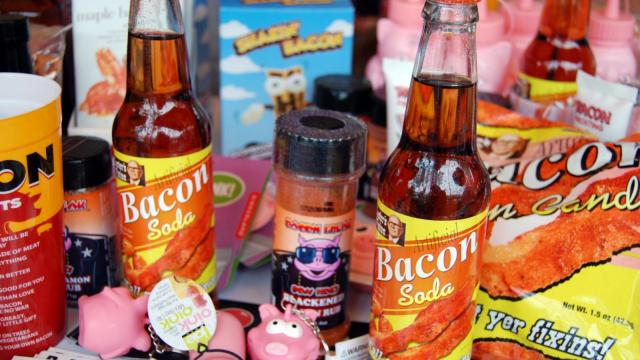 Rocket Fizz in Cary had a variety of bacon-themed items for sale at the Beer and Bacon event at Koka Booth Amphitheatre.