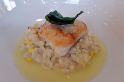 The first course featured grilled grouper served over lobster risotto with corn and yuzu butter sauce. It was paired with Moravian Rhapsody, a Czech pilsner from Raleigh Brewing.