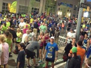 Runners crowd downtown Raleigh awaiting the start of the Rock 'n' Roll Marathon.