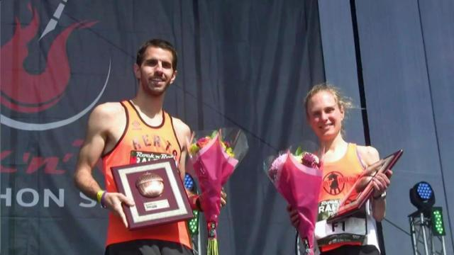 Winners of the Rock 'n' Roll Marathon, Paul Himberger and Heidi Bretscher are both from the Triangle.