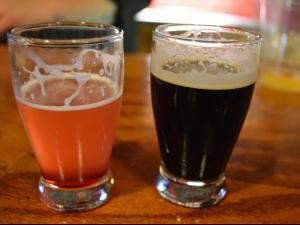 A coffee porter and the Moravian Rhapsodyat  Raleigh Brewing Company.