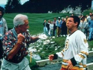 "Bob Barker squares off with Adam Sandler in the movie ""Happy Gilmore."" (AP Photo)"
