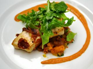Course 2: Johnston County Mangalitsa Prosciutto-Wrapped NC Swordfish, Sweet Potato, Tasso & Jicama Hash, Fullsteam Brewery Cackalacky Beer Romesca (Driftwood Southern Kitchen) (Image from Fire in the Triangle)