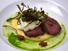Course 3: Pastrami-Cured Venison, Fullsteam Brewery Cackalacky Beer Poached NC Egg, Cackalacky Goat Cheese Old Mill of Guilford Grits, Pickled Mustard Seeds, Crispy Collards (Weathervane) (Image from Fire in the Triangle)