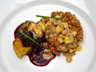 Course 2: Fried Manchester Farms Quail Breast, High Rock Farms Blackberry Cornbread, Walnuts, Thompson Orchards Peach Barbecue Sauce, Crispy Heritage Farms Bacon (City Kitchen) (Image from Competition Dining)
