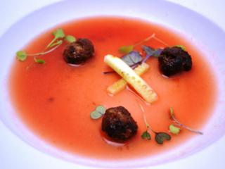 Course 1: Chilled Bass Farms Watermelon & Jackson Farms Sprite Melon Gazpacho, Cucumber, Asian Style Certified Angus Beef® Brand Bacon Blend Meatball (Pup's) (Image from Competition Dining)