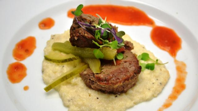 Course 3: Herb Certified Angus Beef® Brand Anniversary Blend Beef Cutlet, Cauliflower Purée, Tomato & Bass Farms Watermelon Ketchup (Pup's) (Image from Competition Dining)
