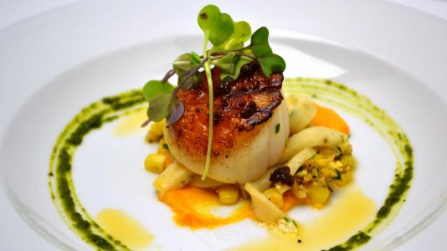 Course 1: Pan-Seared Scallop, Texas Pete® Cha!-Gingered Corn, Mona Lisa White Chocolate NC Sweet Potato Purée, White Chocolate Scallop Noodle, Cha! Brown Butter (Jimmy V's) (Image from Competition Dining)