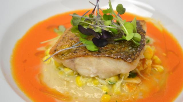 Course 1: Seared NC Fish Connection Hybrid Striped Bass, Yuca Mousse, John Hudson Farms Corn & Little River Crab Meat, Smoked Tomato & Fennel Broth (City Kitchen) (Image from Competition Dining)