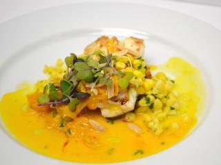 Course 2: NC Flounder, Crispy Rice, John Hudson Farms Corn & Almond Ragout, Orange-Saffron Emulsion (City Kitchen) (Image from Competition Dining)