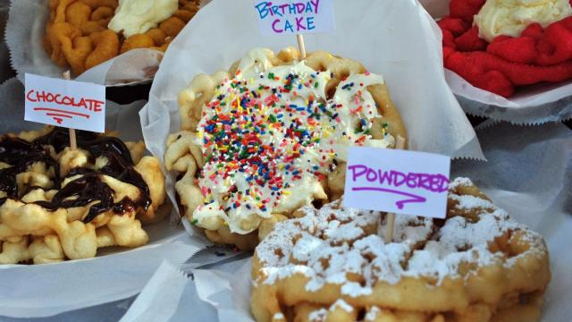 Several different kinds of funnel cakes are available at the NC State Fair.