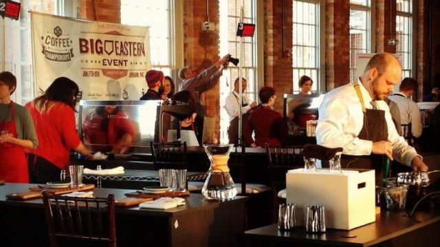 Baristas compete in the Big Eastern Coffee Competition. (Image from John Huisman)
