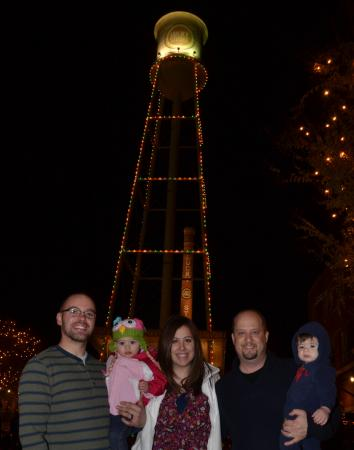 The American Tobacco Campus Tower was lit on Friday, Dec. 6, 2014.
