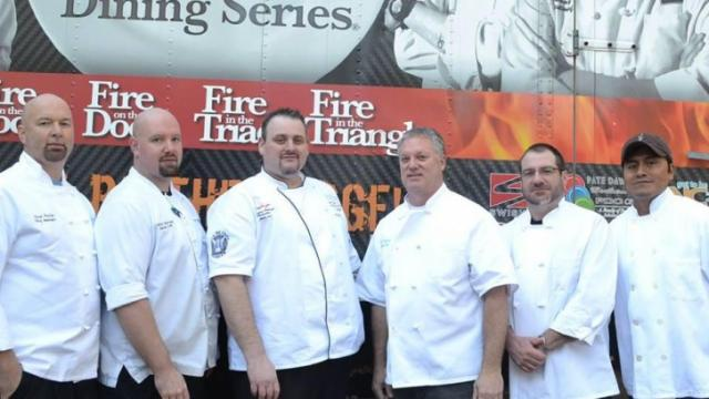 Chefs from Rex Healthcare and Top of the Hill before their Competition Dining battle on Jan. 20, 2015.