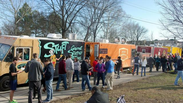 Crowds turned out under sunny skies Jan. 25, 2015, for the winter food truck rodeo at Durham's Central Park.