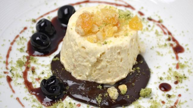 Course 5 - Baker's Peanut Butter Semi-Freddo, Red Wine Cherries, Dark Chocolate Espresso Sauce, Peanut Brittle, Basil Sugar