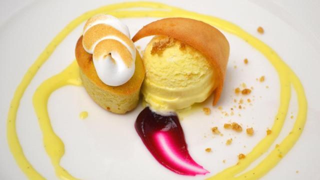 Course 6 - Stayman Apple Cornmeal Pound Cake, Gold Rush Apple Cider Sabayon Glace, Honey Tuile, Honey Crispy Apple Cider Anglaise, Cameo Apple & Beet Gelée