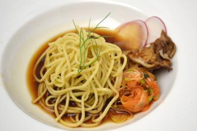 Course One - Dashi Black Garlic, Homemade High Rock Farm Chestnut Flour Pasta, Braised Certified Angus Beef® Brand Tri-Tip, Smoked Fennel Kimchi