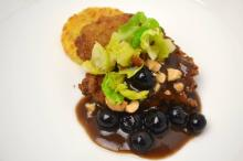 Course 2 - Chapel Hill Creamery Calvander-Logan Turnpike Cornmeal Crusted Manchester Farms Quail Breast of Quail, Cashews, Potato-Calvander Rösti, Blueberry-Harrell Hill Farm Sorghum Syrup Molasses BBQ Sauce, Bacon & Brussels Sprouts