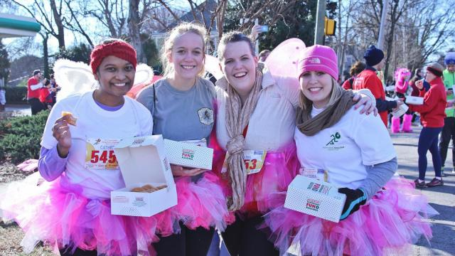 Thousands of runners came out on early Saturday morning to participate in the 11th Annual Krispy Kreme Challenge on February 14th, 2015 in Raleigh, North Carolina. Participants ran from North Carolina State University's Bell Tower to a Krispy Kreme to consume numerous donuts, and then run back to the bell tower. (Photo By: Lexi Baird / WRAL Contributor)