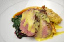 Course 2 - Roasted Veal Medallions, Black Truffle NC Egg Hollandaise, Poplar Ridge Farms Sunchoke-Bacon Homemade Mac & Cheese, Rainbow Chard, Perry Lowe Orchards Apples, Sunchokes