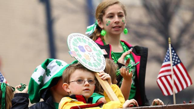 St Patrick showered his blessings on downtown Raleigh Saturday March 14, 2015. Despite the soggy weather thousands turned out for the St Patty's Day Parade and festivities. (Chris Baird / WRAL Contributor).