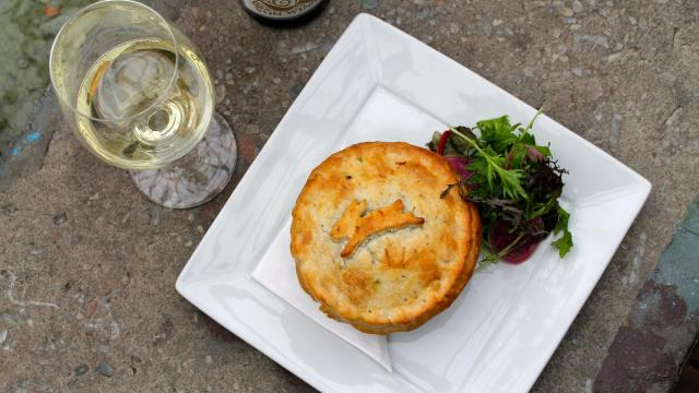 The comfort of a steaming pot pie takes a southern German twist in this Hasenpfeffer dish from Guglhupf Bakery, Café & Restaurant.  (Amanda MacLaren/Durham Magazine)