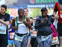 More than 8,000 people were entered in the 2015 Rock 'n' Roll Marathon. They cross the start line in waves early Sunday, April 12, 2015.