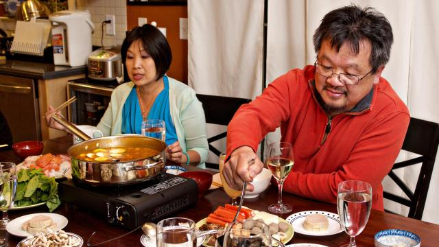 Michael Chuong of elements serves up a meal for his family. (Kristin Prelipp, KPO Photo, for Durham Magazine)
