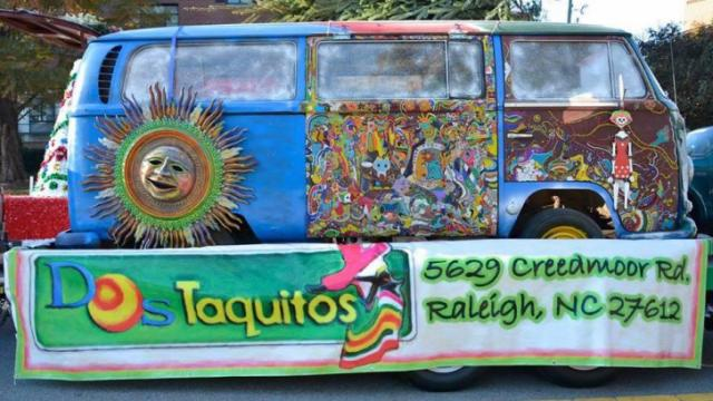 Dos Taquitos is moving from Creedmoor Road this summer. The restaurant helped promote its location with this float during the WRAL Raleigh Christmas Parade in 2014. (Facebook)