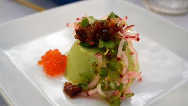Kimbap's Kim Hunter made this asparagus pea shoot panna cotta topped with candied house-cured bacon and a radish salad and trout roe.
