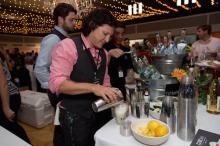 Esteban McMahan of TOPO Organic Spirits at Thursday night's Grand Taste Experience at the Durham Armory.