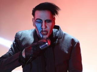 Marilyn Manson on stage at Carolina Rebellion in Charlotte N.C. on Saturday May 2, 2015. (Chris Baird / WRAL Contributor).