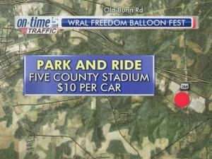 The best bet for parking at the WRAL Freedom Balloon Fest comes at Five County Stadium.