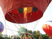 Raw: View from the basket of a hot air balloon