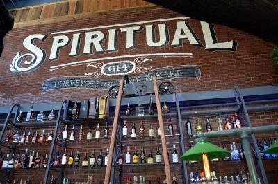 Raleigh Beer Garden's cocktail bar has this mural above it.