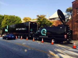 QVC production trucks prepare for a taping in Chapel Hill.
